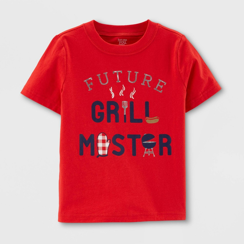 Baby Boys' 'Grill Master' Short Sleeve T-Shirt - Just One You made by carter's Red 18M, Roanoke Red
