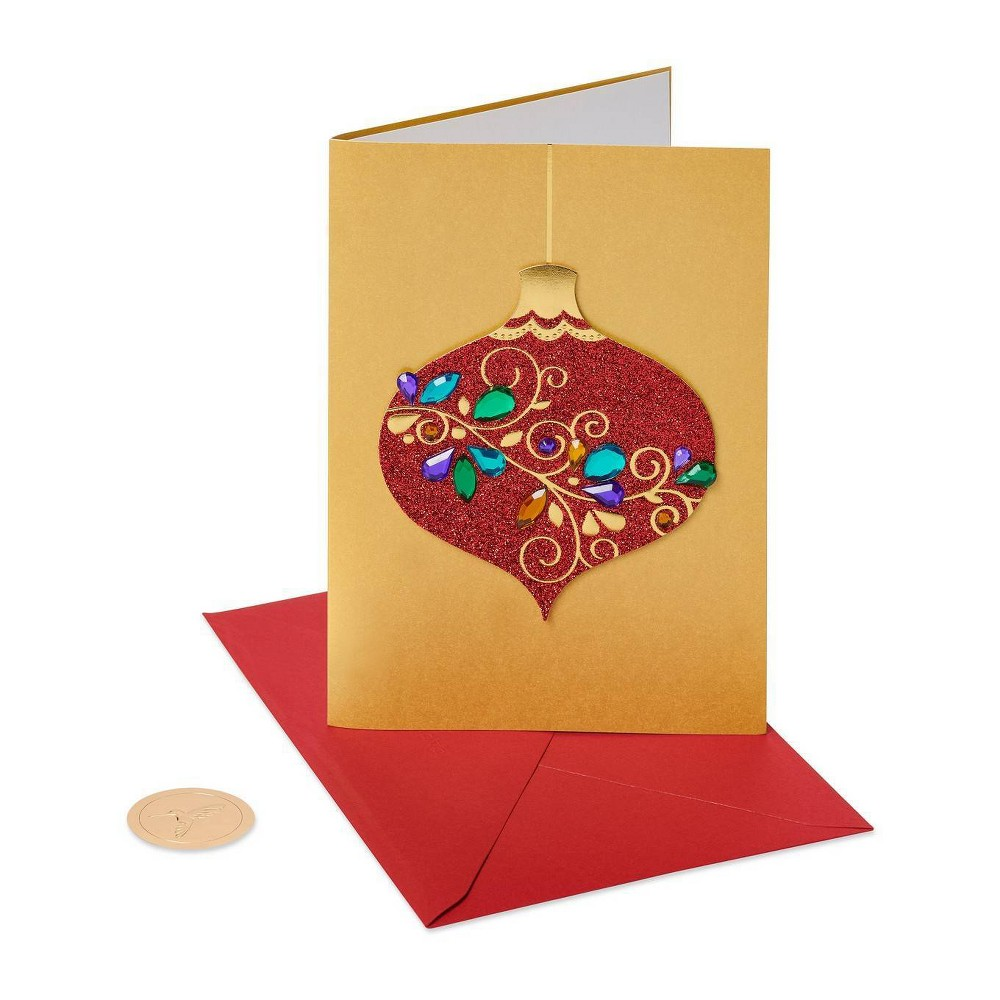 Image of 8ct Papyrus Red Glitter Gem Ornament Boxed Holiday Greeting Cards