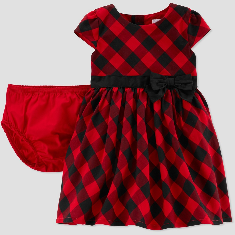 Kids 1950s Clothing & Costumes: Girls, Boys, Toddlers Baby Girls Buffalo Check Holiday Dressy Dress - Just One You made by carters Red 18M $19.99 AT vintagedancer.com