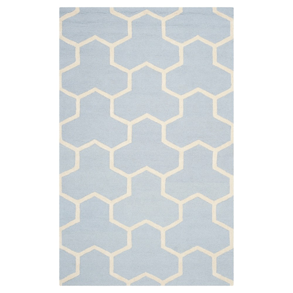 Delmont Texture Wool Rug Light Blue Ivory 6 39 X 9 39 Safavieh