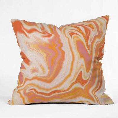 "16""x16"" Sunshine Canteen Marble Throw Pillow Orange - society6"