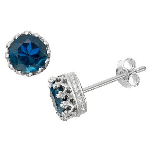 6mm Round-cut London Blue Topaz Crown Earrings in Sterling Silver - image 1 of 1