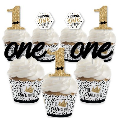 Big Dot of Happiness 1st Birthday Little Mr. Onederful - Cupcake Decor - Boy First Birthday Party Cupcake Wrappers and Treat Picks Kit - Set of 24