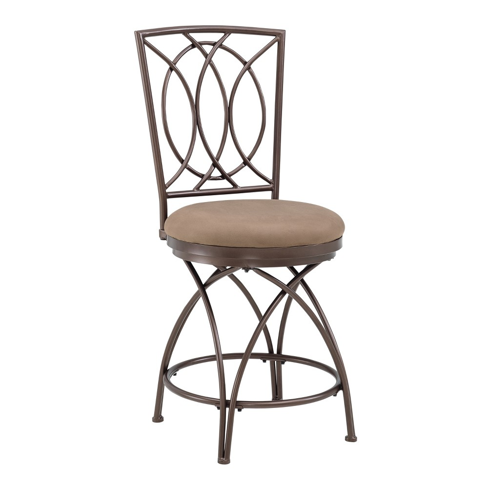 "Image of ""24.5"""" Dana Big & Tall Metal Crossed Legs Counter Stool Bronze - Powell Company"""
