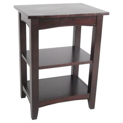 2-Shelf Side Table Hardwood Coffee Brown - Alaterre Furniture®