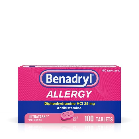 Benadryl Ultratab Allergy Relief Tablets - Diphenhydramine - 100ct - image 1 of 4
