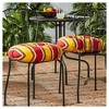 "Set of Two 18"" Carnival Stripe Outdoor Bistro Chair Cushions - Kensington Garden - image 2 of 4"