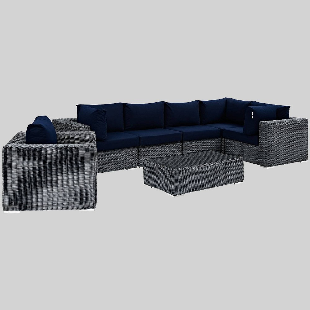 Summon 7pc Outdoor Patio Sectional Set With Sunbrella Fabric Navy Modway