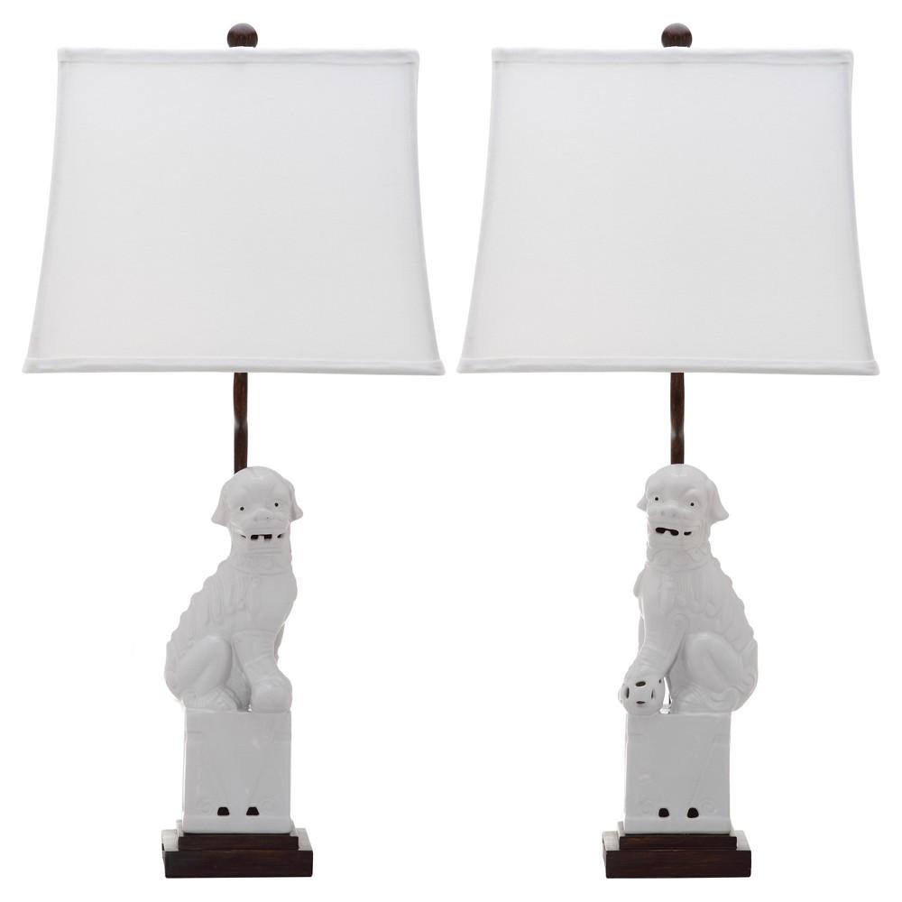 Image of White Ceramic Foo Dog Table Lamp Set of 2 - Safavieh