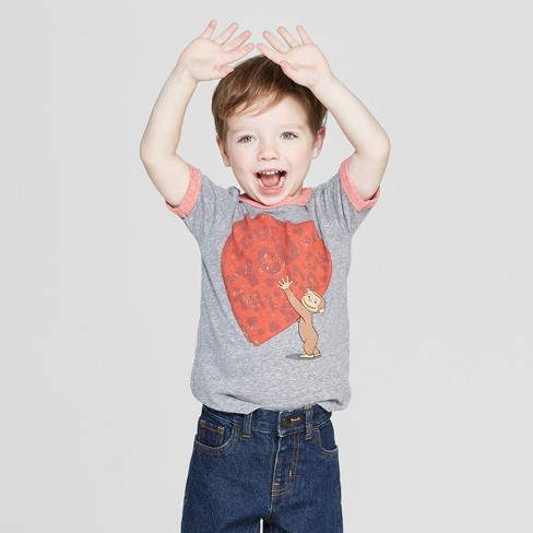 Toddler Boys' Curious George Short Sleeve T-Shirt - Gray - image 1 of 3