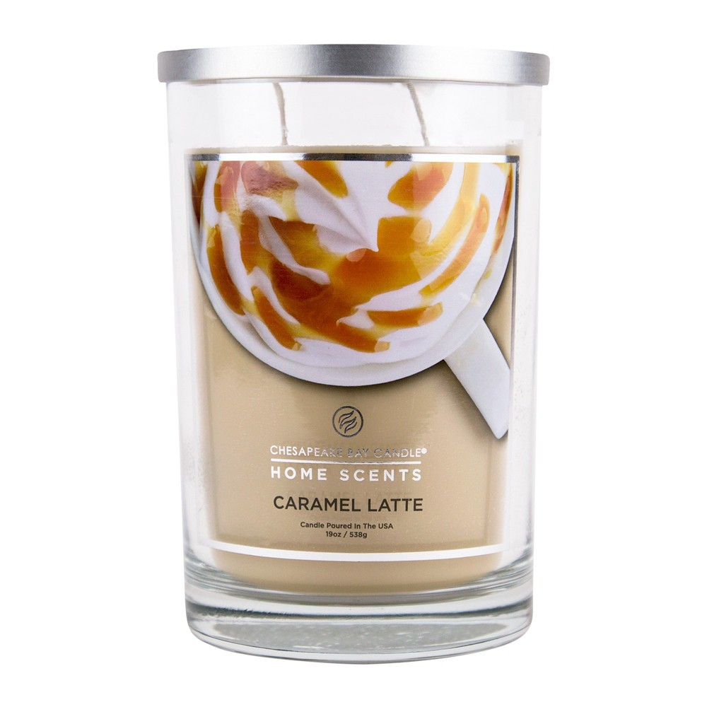 Image of 19oz Glass Jar 2-Wick Candle Caramel Latte - Home Scents By Chesapeake Bay Candles