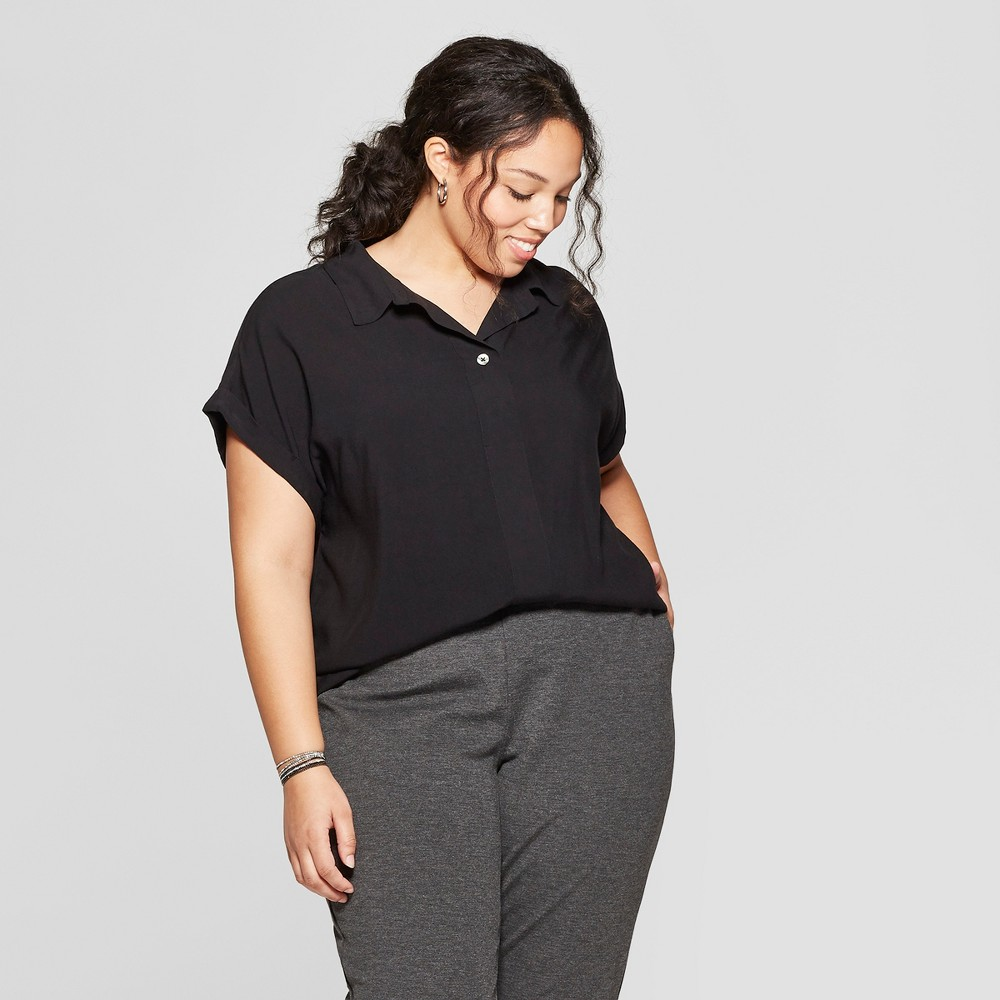 c60cefa1364cb Womens Plus Size Short Sleeve Collared Mixed Media Popover Button Down  Shirt Ava Viv Black 4X