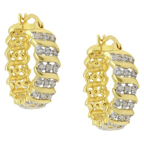 "0.02 CT.T.W. Round-Cut Diamond Accent ""S"" Design Prong Set Gold Plated Hoop Earrings - image 1 of 1"
