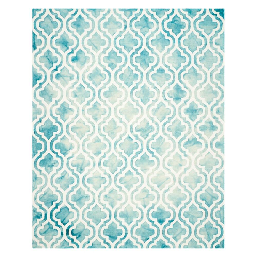 9'X12' Quatrefoil Design Area Rug Turquoise/Ivory - Safavieh
