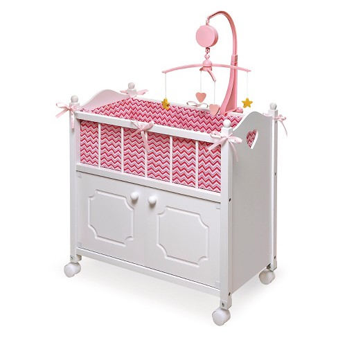 Badger Basket Doll Crib with Cabinet Bedding Mobile - Chevron Print - image 1 of 3