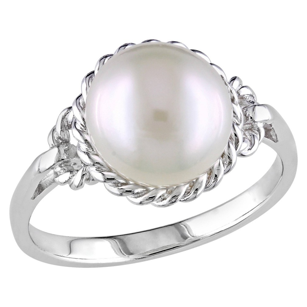 9 9 5mm Cultured Freshwater Pearl Ring In Sterling Silver 6 White