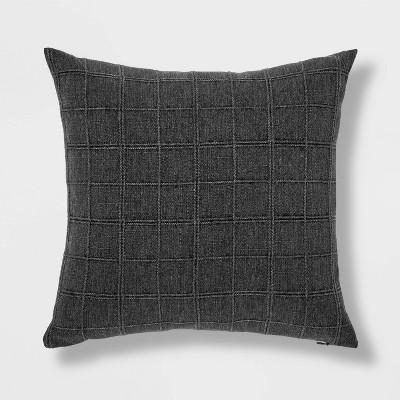 Oversized Woven Washed Windowpane Square Pillow Dark Gray - Threshold™