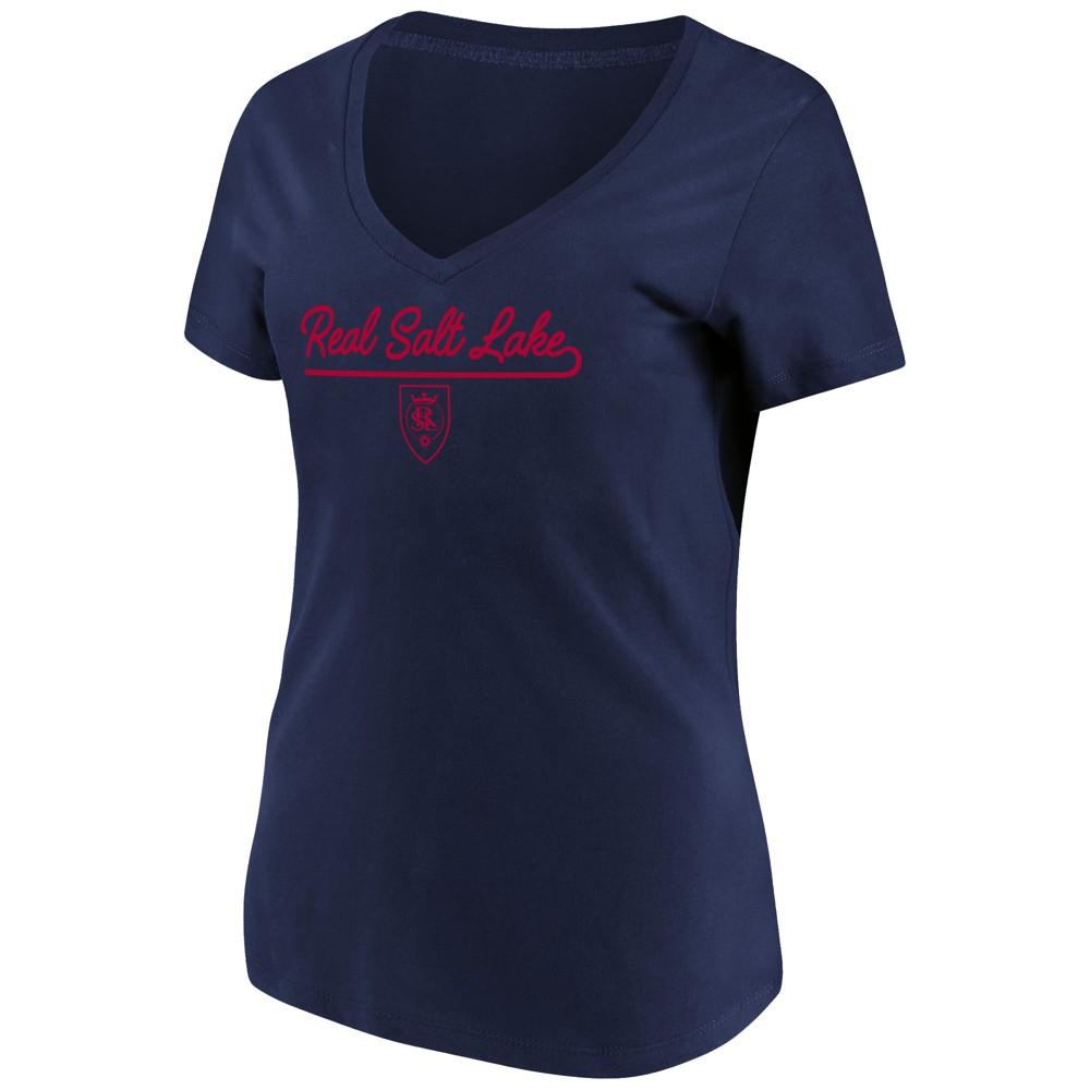 Mls Women's Short Sleeve V-Neck T-Shirt Real Salt Lake - M, Multicolored