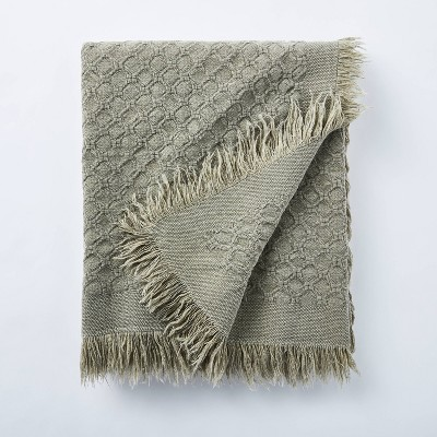 Washed Waffle Cotton Throw Green - Threshold™ designed with Studio McGee