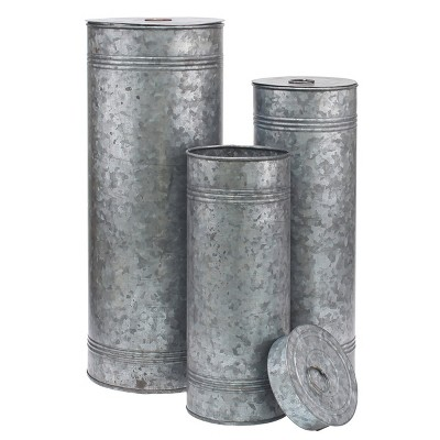 Aged Galvanized Metal Canisters Gray 3pk - Stonebriar
