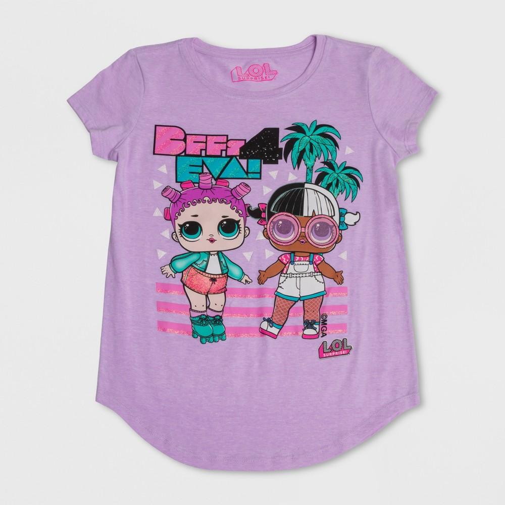 Plus Size Girls' L.O.L. Surprise! BFF's 4 Eva Short Sleeve T-Shirt - Lilac Heather L Plus, Purple