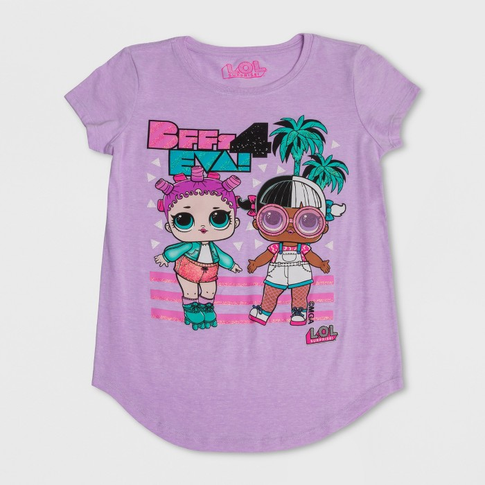Girls' L.O.L. Surprise! BFF's 4 Eva Short Sleeve T-Shirt - Lilac Heather - image 1 of 2