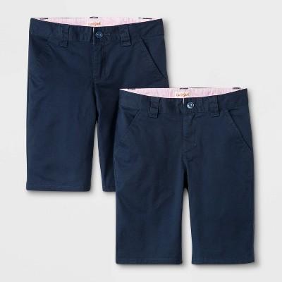 Girls' 2pk Flat Front Stretch Uniform Shorts - Cat & Jack™ Navy
