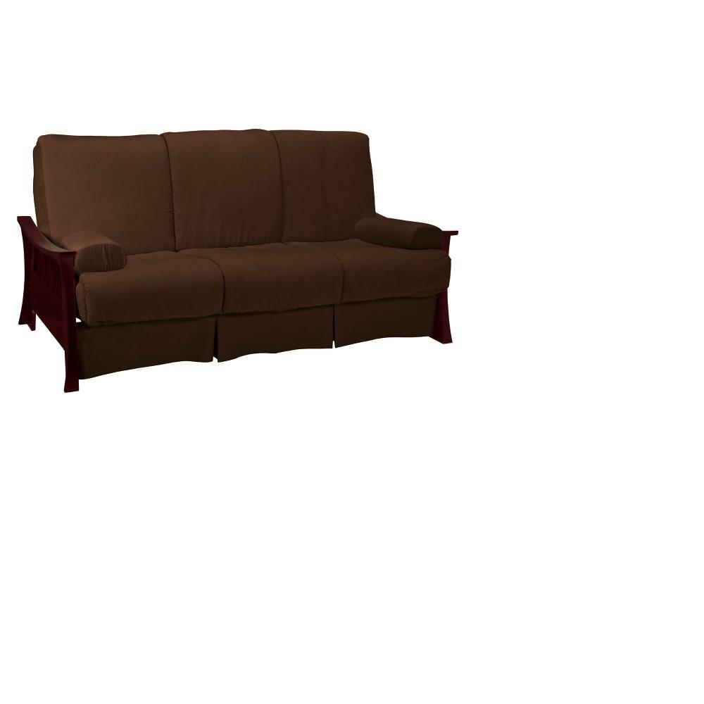 Shanghai Perfect Futon Sofa Sleeper - Mahogany Wood Finish - Epic Furnishings, Brown