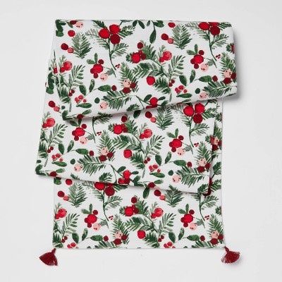 "72"" x 14"" Cotton Holly Berries Table Runner Green - Threshold™"