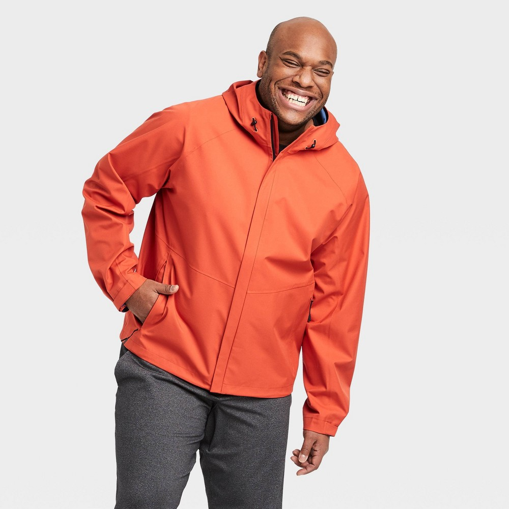 Image of Men's Waterproof Jacket - All in Motion Orange M, Men's, Size: Medium