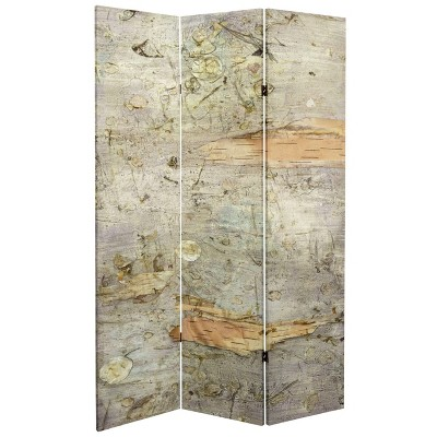 """6"""" Double Sided Pale Forest Canvas Room Divider Gray - Oriental Furniture"""