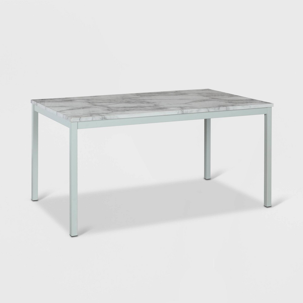 "Image of ""60"""" Greta Faux Marble Top Dining Table White - CosmoLiving by Cosmopolitan"""