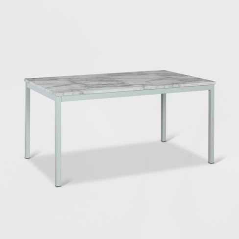 """60"""" Greta Faux Marble Top Dining Table White - CosmoLiving by Cosmopolitan - image 1 of 4"""