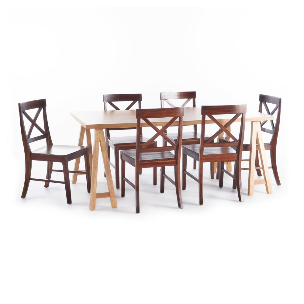 Donny 7pc Farmhouse Dining Set - Oak (Brown)/Mahogany - Christopher Knight Home