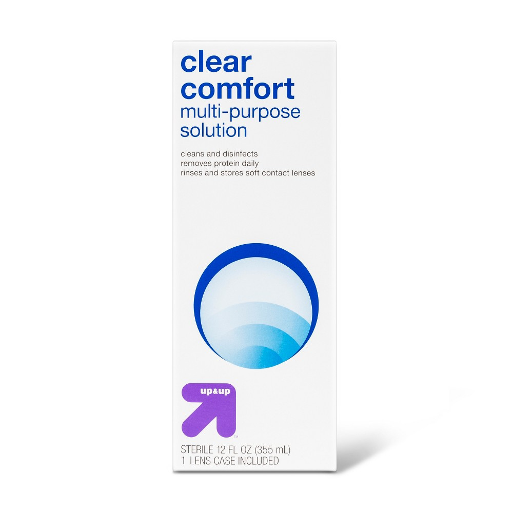 Clear Comfort Multipurpose Contact Solution - 12oz - Up&Up Maintain clean, comfortable and disinfected contact lenses easily with Multipurpose Solution - UpandUp. This economical pack features 2 bottles of sterile saline solution and works dynamically, cleaning lenses and removing protein while they are being stored. Size: 12 fl oz. Age Group: Adult. Pattern: Solid.