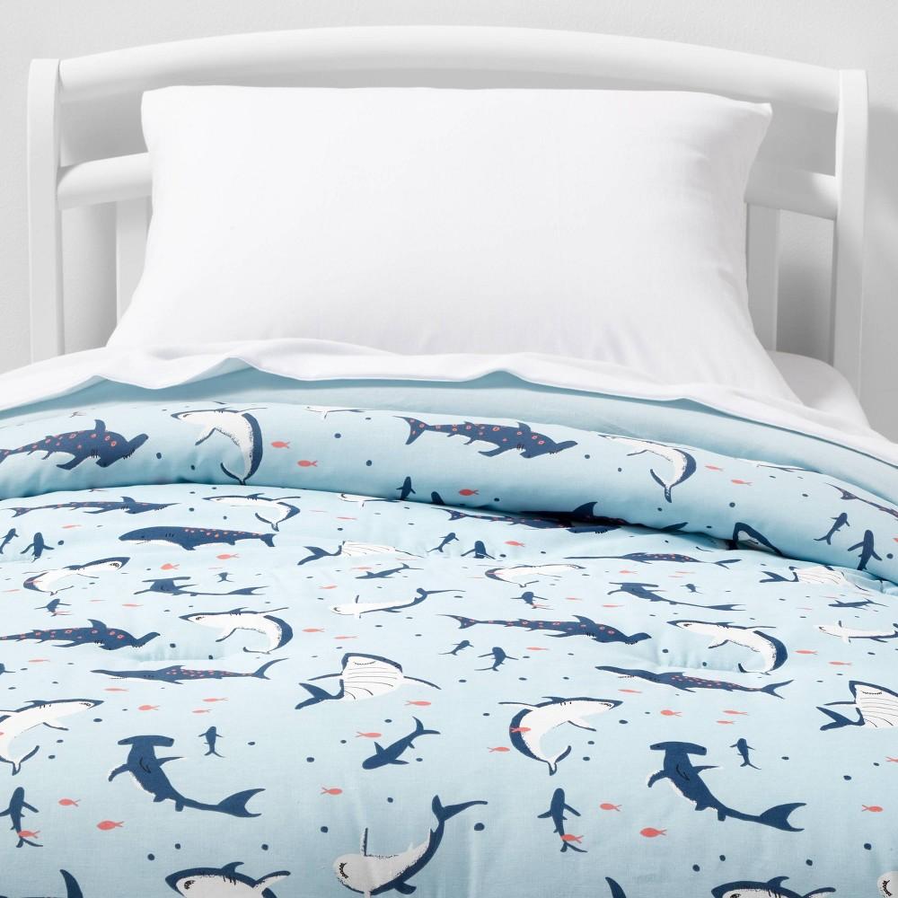 Toddler Shark Cotton Comforter Set Blue Pillowfort 8482