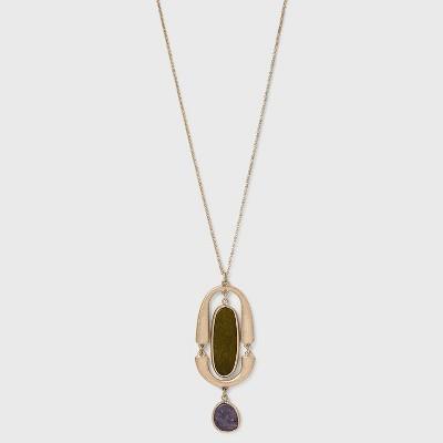 Semi-Precious with Worn Gold Pendant Necklace - Universal Thread™