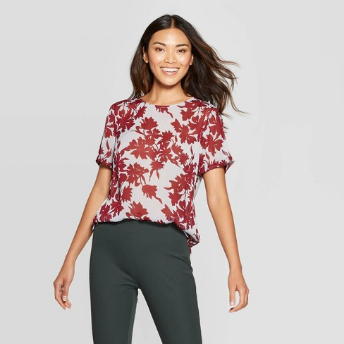 Women's Floral Print Regular Fit Short Sleeve Crewneck T-Shirt - A New Day™ Burgundy - image 1 of 3