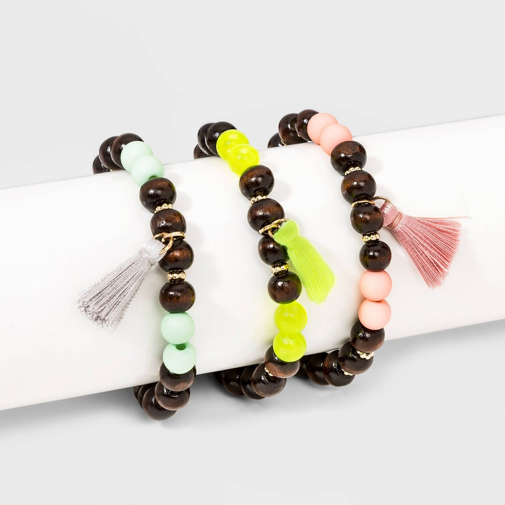 Image of Beaded and Tassel Charm Stretch Bracelet Set - Wild Fable , Women's, MultiColored