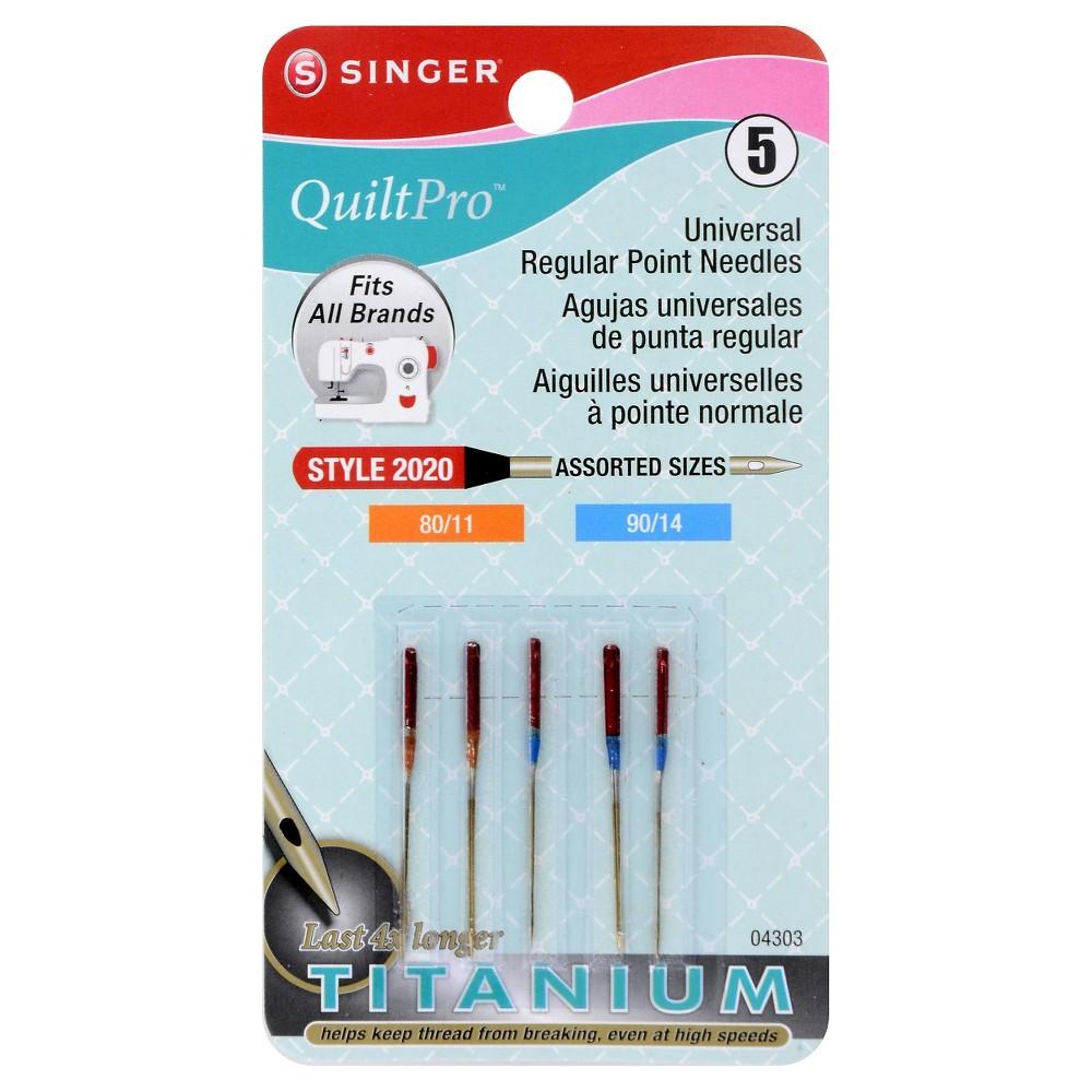 Singer QuiltPro Universal Regular Point Needles, Silver