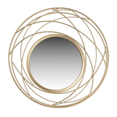 24  Metal Round Wall Accent Mirror Champagne - Patton Wall Decor