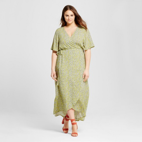 ad13412c385 Women s Plus Size Flutter Sleeve Wrap Maxi Dress - Who What Wear ...