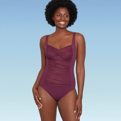 Women's Slimming Control Ruched Front One Piece Swimsuit - Dreamsuit by Miracle Brands