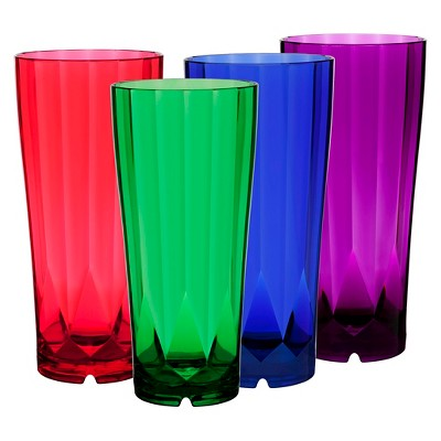 CreativeWare 28oz Acrylic Diamond Tumblers Multicolored - Set of 8