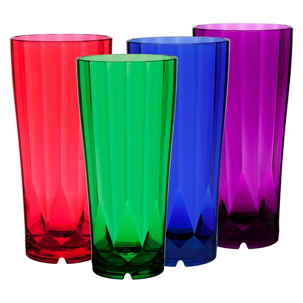 Image of CreativeWare 28oz Acrylic Diamond Tumblers Multicolored - Set of 8, Multi-Colored