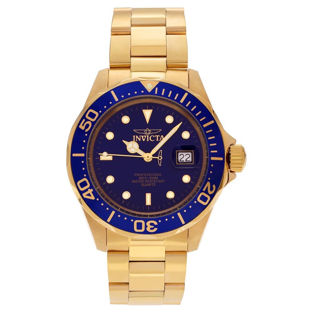 Men's Invicta Pro Diver 9312 Stainless Steel Link Bracelet Watch - Gold/Blue