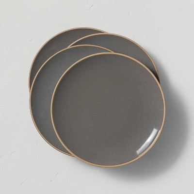 4pk Stoneware Exposed Rim Salad Plate Gray - Hearth & Hand™ with Magnolia