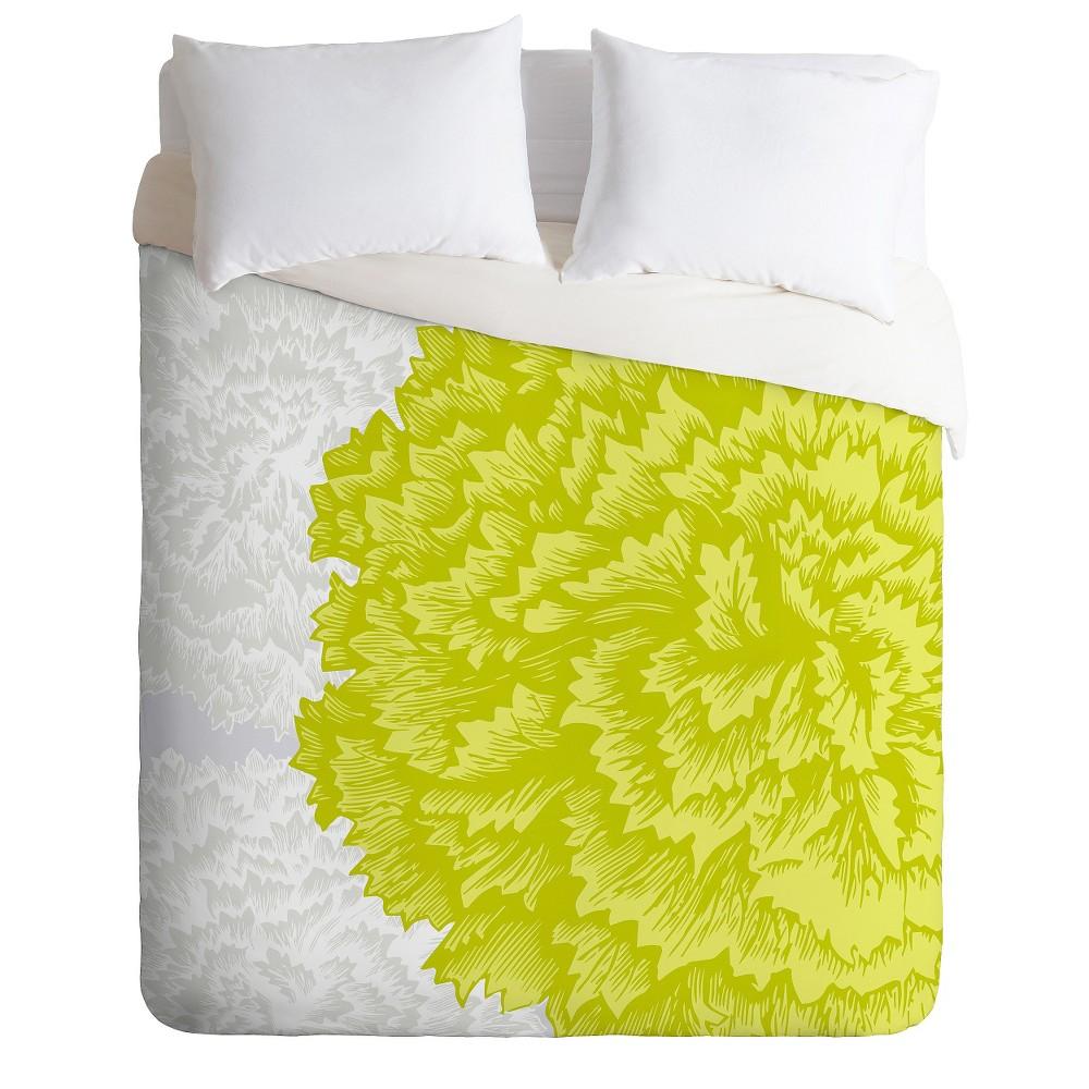 Caroline Okun Lucent Lightweight Duvet Cover Queen Lime - Deny Designs, Green