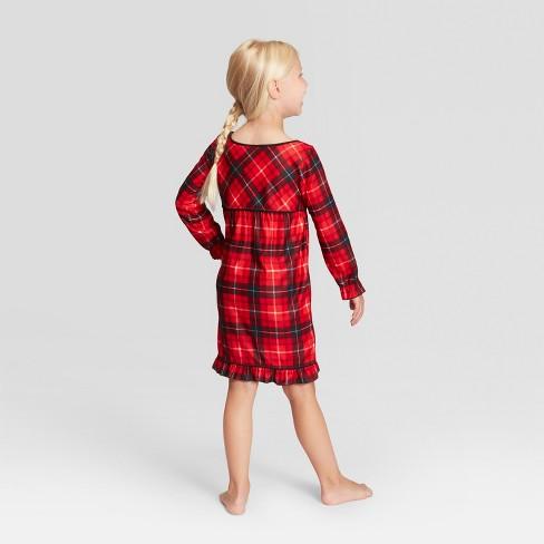 7f9579db8 Girls  Plaid Holiday Notch Collar Pajama Nightgown - Wondershop™ Red ...