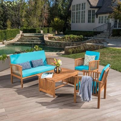 Carolina 4pc Acacia Wood Sofa Set - Brown Patina/Teal - Christopher Knight Home